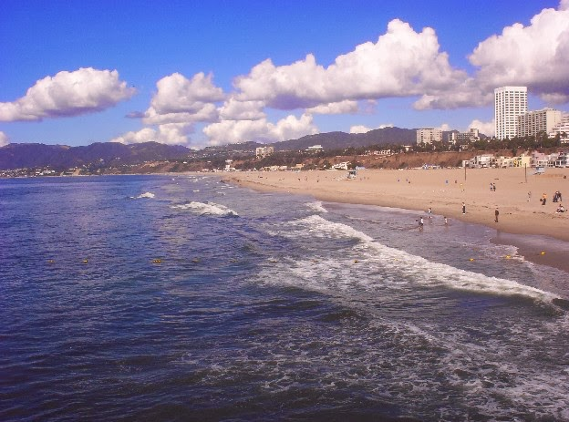Santa Monica California   beach and mountains
