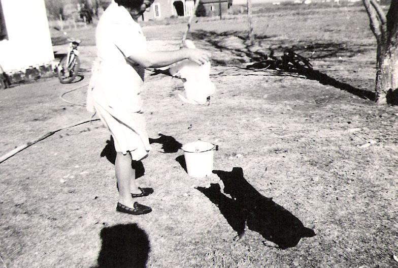 Doris Kathleen Graves Dobson Cleaning Chicken in Midland Texas