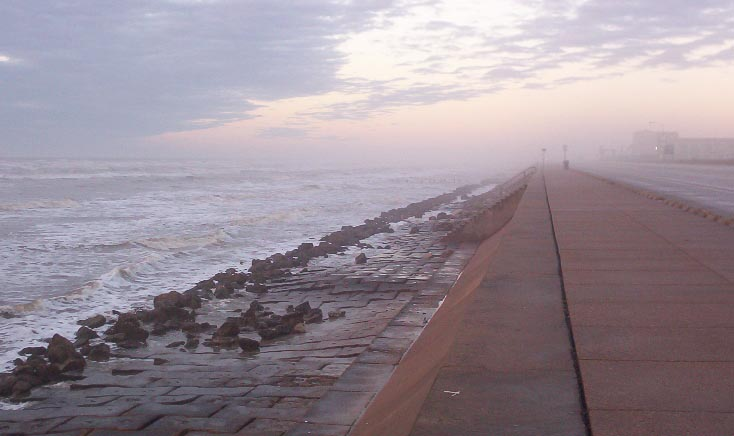 galveston island texas fog on the seawall