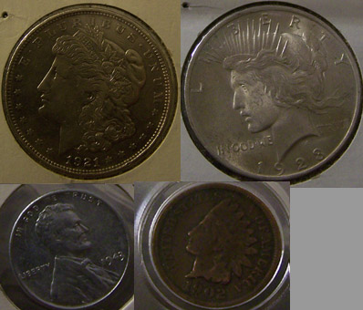 old coins silver dollars silver colored 1943 steel penny and indian head penny