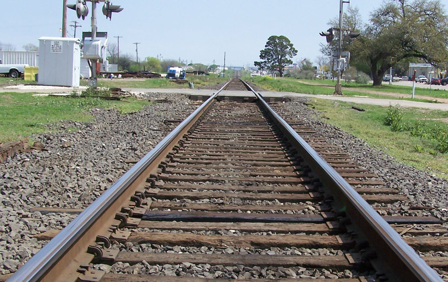 parallel railroad tracks stretching east from hondo texas