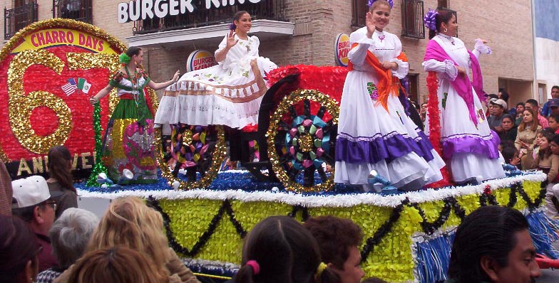 Matamoros Tamaulipas Mexico   Charros Parade   Girls Waving
