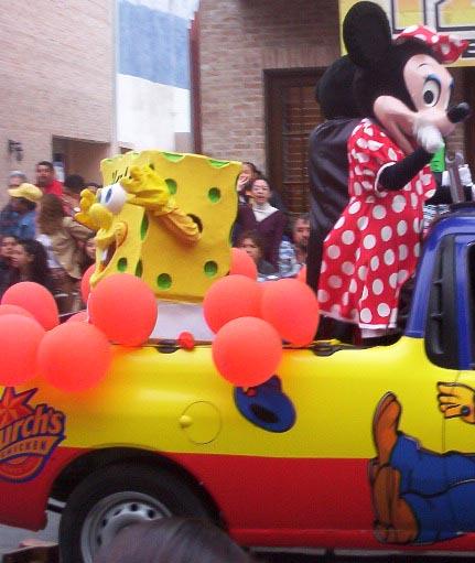 Matamoros Tamaulipas Mexico   Charros Parade   SpongeBob and Minnie Mouse