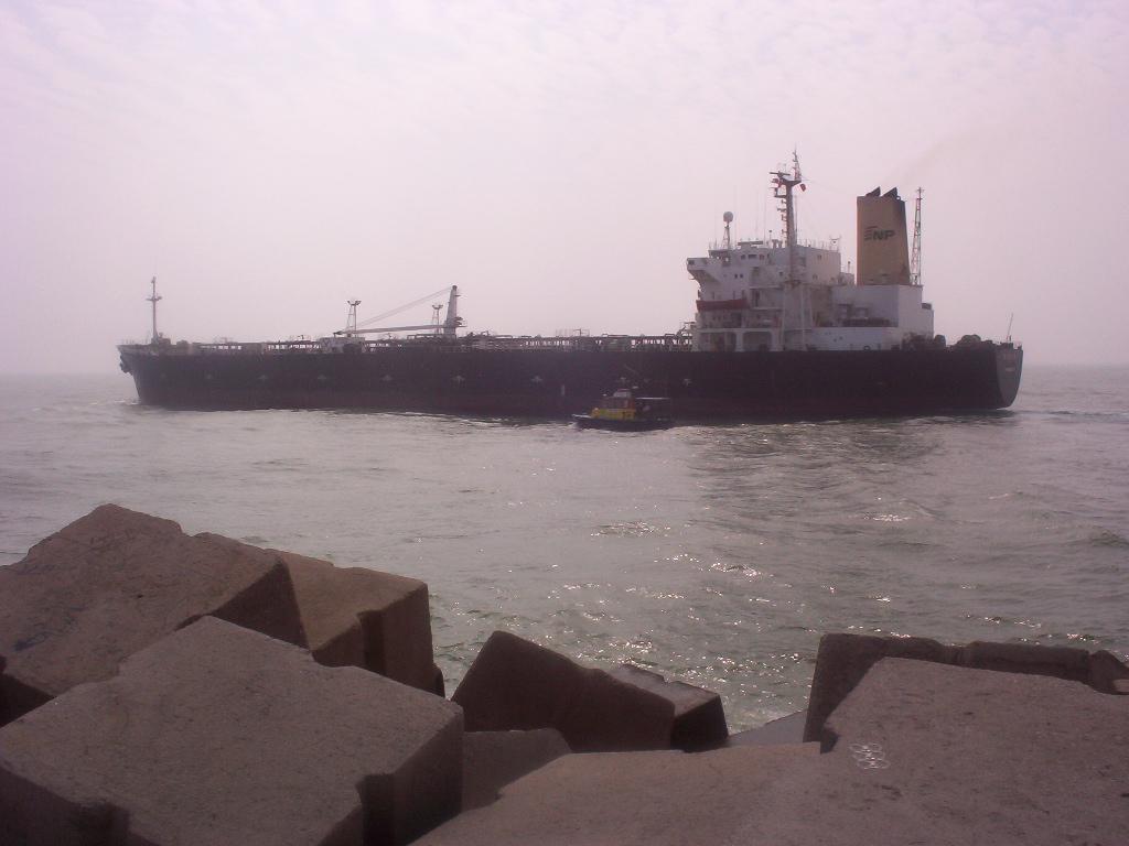 Tampico Tamaulipas Mexico   Barge Leaving Port