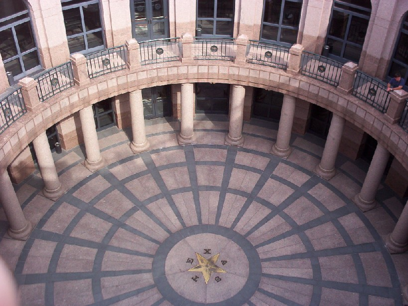 Looking down outside the capitol building Austin TX