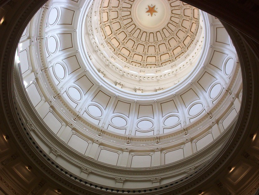 Looking up within the capitol building Austin TX