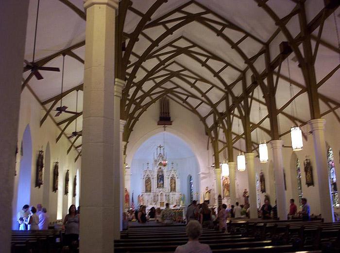 inside st louis church in castroville