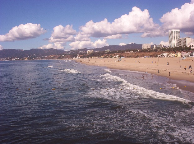 Santa Monica California   beach and mountains