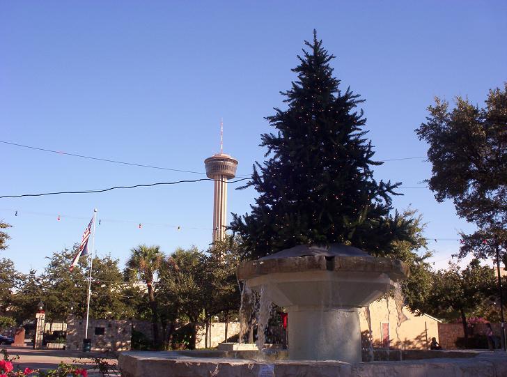 san antonio fountain tree and tower