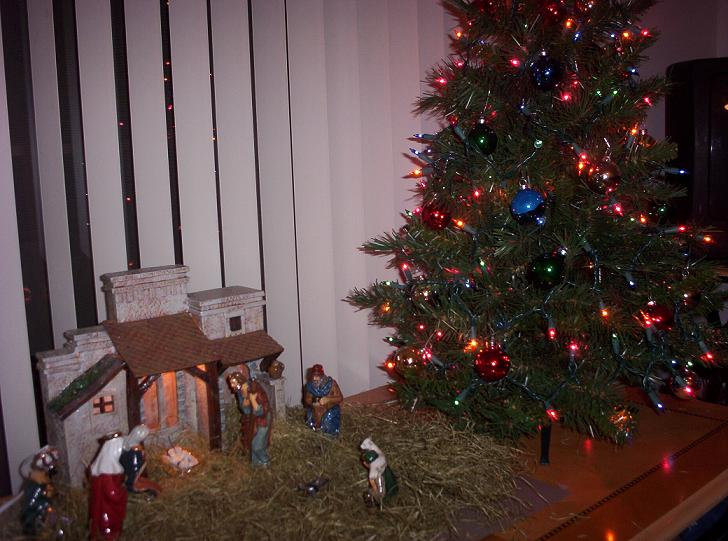 nativity and christmas tree