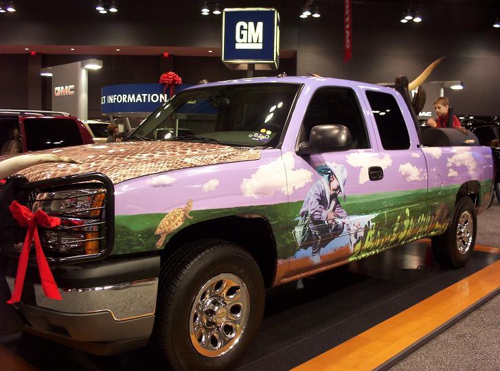 austin auto show 2005 truck with texas landscape